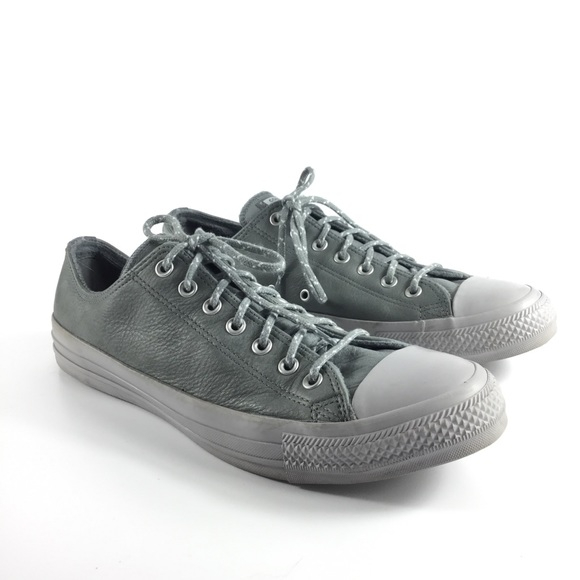 Converse Gray Leather Chuck Taylor Low Tops Unisex